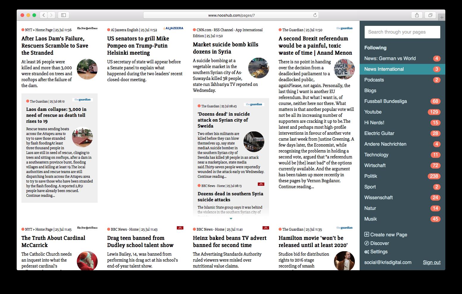 Work - Nooshub RSS Reader   Krisdigital